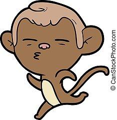 sospechoso, caricatura, mono
