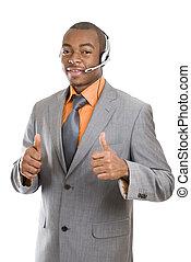 sostegno, americano, africano, operatore, cliente