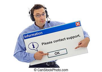 sostegno cliente, amichevole, guidare