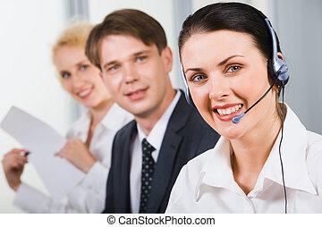 sostegno cliente, amichevole, squadra