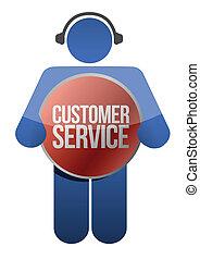 sostegno cliente, cuffie, icona