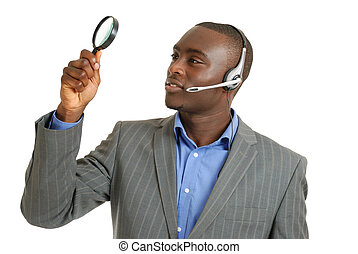 sostegno cliente, vetro, presa a terra, operatore, ingrandendo