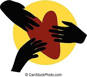 sostegno, heart., aiuto, carità, tre, illustrazione, concetto, mani, presa