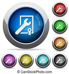 sostegno, set, bottone, premio, vincente