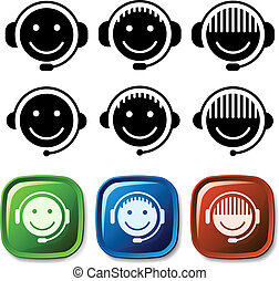 sostegno, vettore, icone