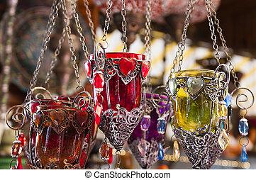 sostenedores de la vela, bazar, turco