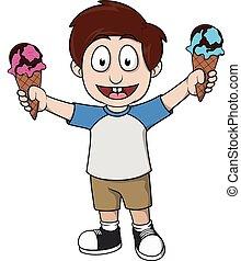 sostener a niño, dos, helado
