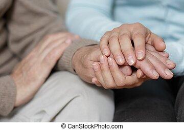 sostenere, anziano, nipote, nonno, lei