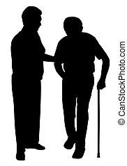 sostenere, camminare, donna, bastone, uomo senior