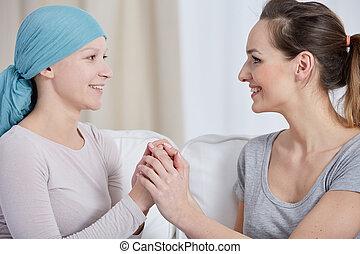sostenere, donna, amico, cancro