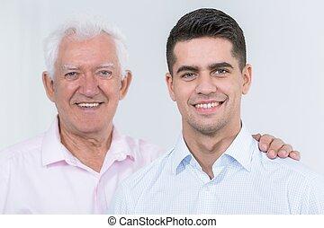 sostenere, padre, adulto, figlio