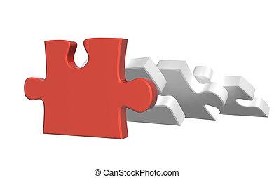 sostenere, parti, puzzle, enigmi, parte, cadere