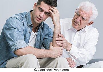 sostenere, suo, padre, disperazione, figlio