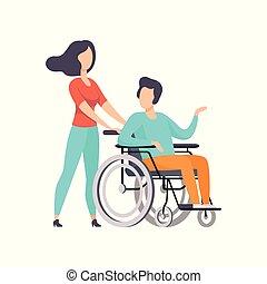 sostenere, vita, amico, lei, carrozzella, spinta, illustrazione, invalido, persona, vettore, pieno, fondo, handicappato, ragazza, godere, uomo, bianco