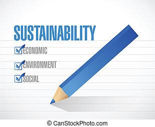 sostenibilidad, concepto, lista, marca de verificación