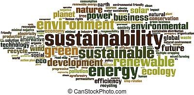 sostenibilidad, palabra, nube