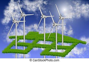 sostenible, casa, energía