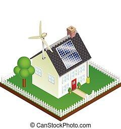 sostenible, casa, energía, renovable