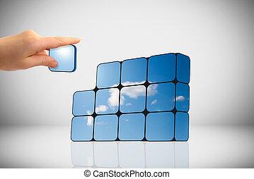 sostenible, crecimiento, concept:, mano, y, cubos