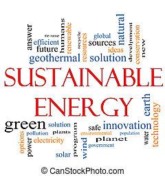 sostenible, energía, palabra, nube, concepto