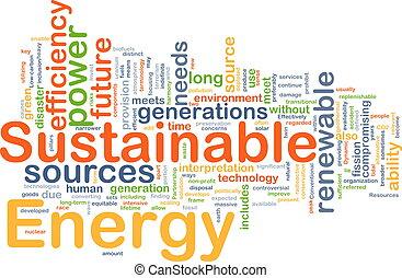 sostenible, energía, plano de fondo, concepto