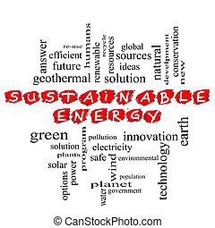 sostenible, garabatear, energía, palabra, nube