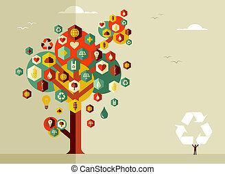 sostenible, vida, árbol