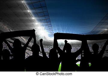 sostenitori, football, silhouette