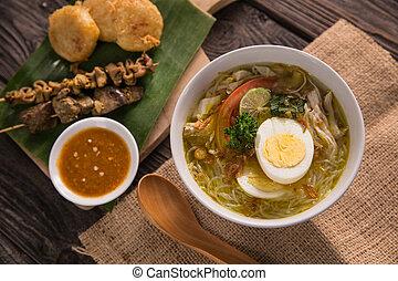 soto, curry poulet, ayam, soupe