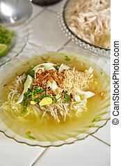 soto, indonésien, bouillon de poule