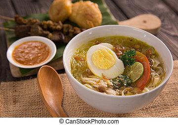 soto, poulet, ayam., shreedded, soupe