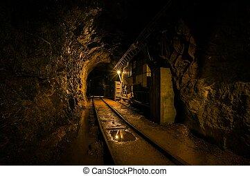 sotterraneo, miniera, sbarre, passaggio
