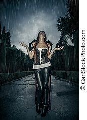 sotto, il, tempesta, bello, vampiro, donna, in, palazzo, cancello, gotico, fantasia, enorme, cappotto