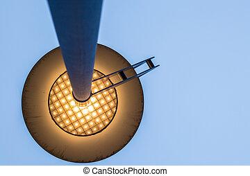sotto, lampada, strada, vista, punto