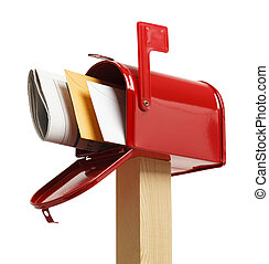 sotto, pieno, cassetta postale
