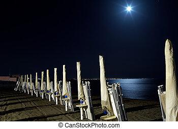 sotto, pieno, spiaggia, luna