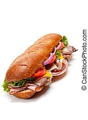 sottomarino, bianco, panino, fondo