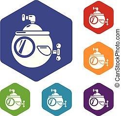 sottomarino, viaggiare, vettore, hexahedron, icone