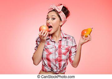 sou, maçã, escolher