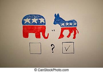 souběžný, politika, concept., demokrat, proti, republikánský, elections.