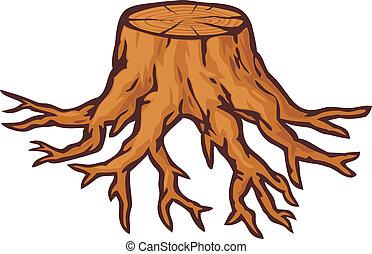 souche, vieil arbre, racines