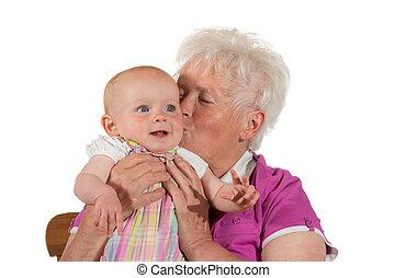 soucier, baisers, elle, petit-enfant, grand-maman