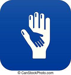 soucier, bleu, vecteur, main, icône