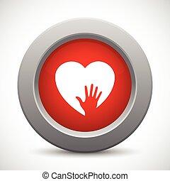 soucier, bouton, rouges, main
