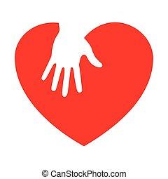 soucier, coeur, icône, main
