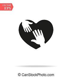 soucier, coeur, illustration, vecteur, conception, fond, blanc, hands., icône