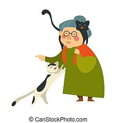soucier, femme, vieux, chats, personne, animaux familiers, personne agee