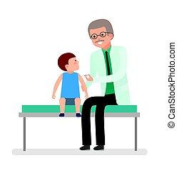 soucier, garçon, coup, docteur., vaccination., visite, patient., santé, pédiatre, marques, child.