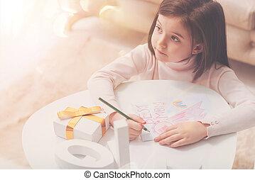 soucier, image, elle, artistique, maman, confection, girl