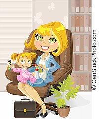 soucier, mère, bureau, business, enfant